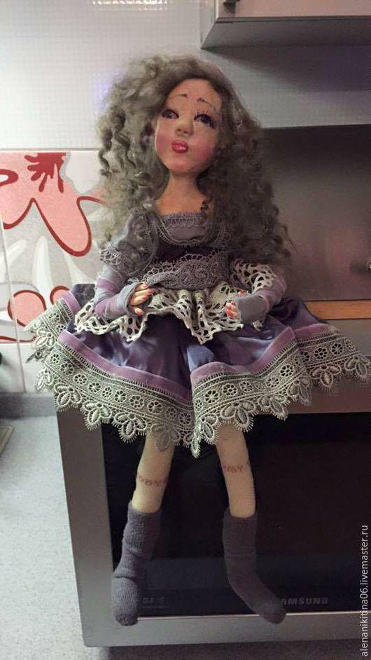 Коллекционные куклы ручной работы. Ярмарка Мастеров - ручная работа. Купить Лаванда. Handmade. Бледно-сиреневый, серый, акриловый лак