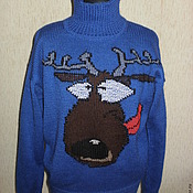Одежда handmade. Livemaster - original item Knitted sweater with crazy deer. Handmade.