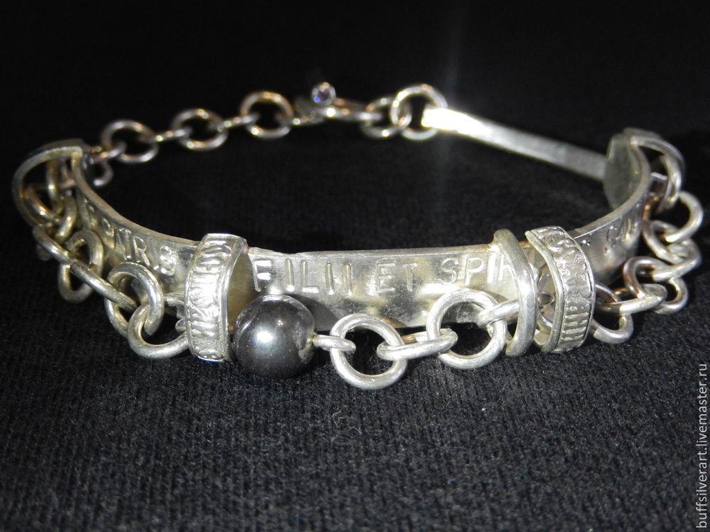 Sterling silver bracelet amethyst hematite, Bead bracelet, Ekaterinburg,  Фото №1