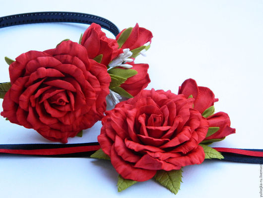 """Комплекты украшений ручной работы. Ярмарка Мастеров - ручная работа. Купить Комплек """"Красные розы"""". ободок+браслет. Handmade. Ярко-красный"""