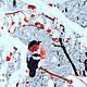 снегирь зима первый снег рябина на ветке лесное животное