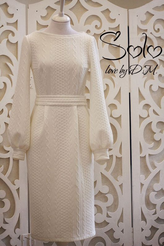 """Платья ручной работы. Ярмарка Мастеров - ручная работа. Купить Платье """"Косичка"""" из жаккардового трикотажа. Handmade. Белое платье"""