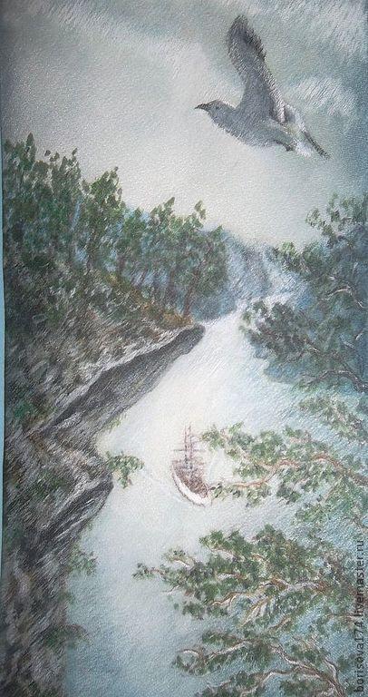 """Галстуки, бабочки ручной работы. Ярмарка Мастеров - ручная работа. Купить Галстук """"Норвежские фьорды"""". Handmade. Серый, горы, скала"""