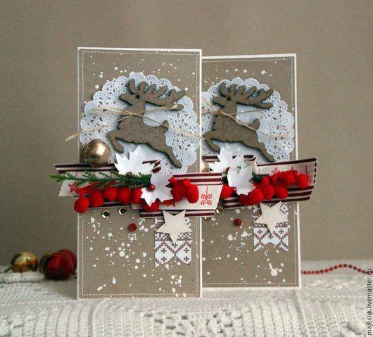 Открытки к Новому году ручной работы. Ярмарка Мастеров - ручная работа. Купить Новогодние открытки. Handmade. Ярко-красный, звезда