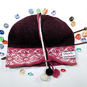 Аксессуары handmade. Livemaster - original item Knitted warm hat, Cloche with small brim and POM-POM. Handmade.