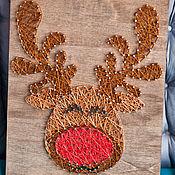 """Картины и панно ручной работы. Ярмарка Мастеров - ручная работа """"Олень (мультяшный)"""" в технике String Art. Handmade."""