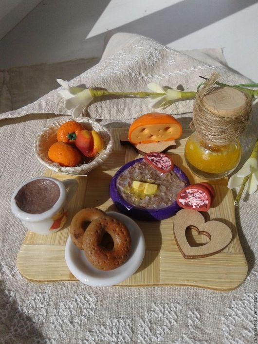 """Миниатюрные модели ручной работы. Ярмарка Мастеров - ручная работа. Купить Миниатюра """"Сытный завтрак"""". Handmade. Комбинированный, интересный подарок"""