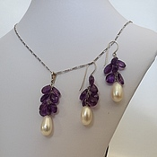 Украшения handmade. Livemaster - original item earrings and pendant with amethyst and pearls. Handmade.