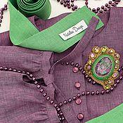 Блузки ручной работы. Ярмарка Мастеров - ручная работа Копия работы Блузка на широкой кокетке лен фиолетовый меланж. Handmade.