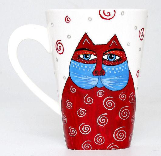 Кружки и чашки ручной работы. Ярмарка Мастеров - ручная работа. Купить Стильные коточашки (и кролик!) (0141). Handmade. Коты