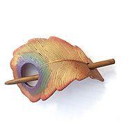 Украшения handmade. Livemaster - original item Barrette Feather Heat-birds (peacock, brooch, hair pin shawl). Handmade.