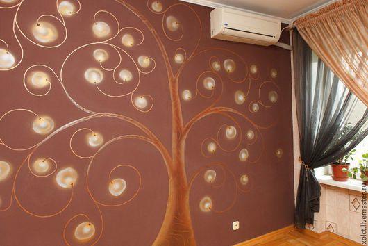 Декор поверхностей ручной работы. Ярмарка Мастеров - ручная работа. Купить Чудо дерево. Handmade. Разноцветный, настенная роспись, фонарики