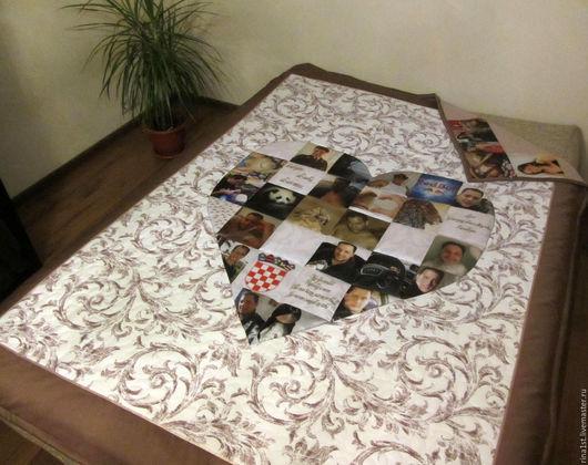 Подарки для влюбленных ручной работы. Ярмарка Мастеров - ручная работа. Купить одеяло с фотографиями. Handmade. Комбинированный, покрывало с фото, сердце