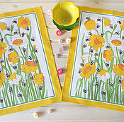 Для дома и интерьера handmade. Livemaster - original item two waffle towels daffodils and bees. Handmade.