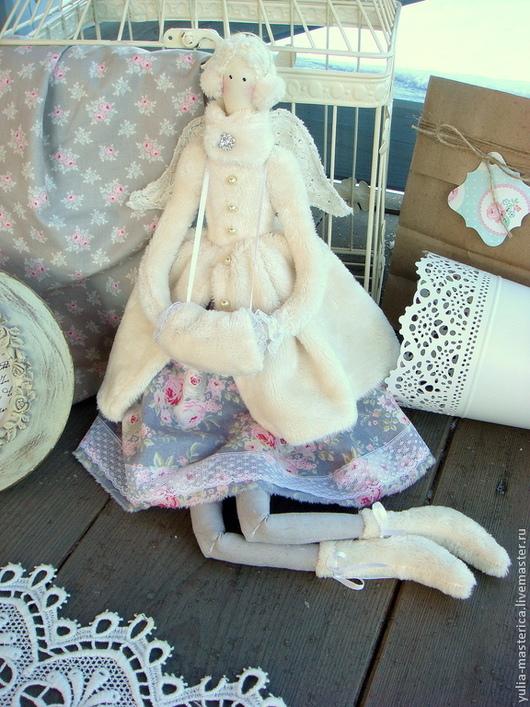 Куклы Тильды ручной работы. Ярмарка Мастеров - ручная работа. Купить Зимний ангел. Handmade. Ангел, шубка, розы, для интерьера