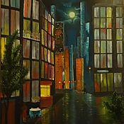 """Картины и панно ручной работы. Ярмарка Мастеров - ручная работа """"Ночной город"""" Картина маслом. Handmade."""