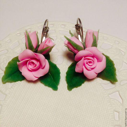 Серьги ручной работы. Ярмарка Мастеров - ручная работа. Купить Серьги с розово-розовыми розами. Handmade. Розовый, розовые розы