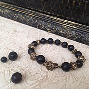 Украшения handmade. Livemaster - original item Bracelet Gift black matte jet and antique brass. Handmade.