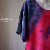Одежда ручной работы. Ярмарка Мастеров - ручная работа Шелковое платье Закат, шелковое платье кимоно батик. Handmade.