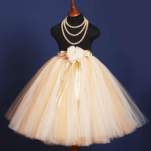 """Одежда для девочек, ручной работы. Ярмарка Мастеров - ручная работа. Купить """"Нежное золото"""" длинная пышная юбка-пачка из фатина. Handmade."""