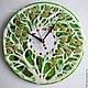 Часы для дома ручной работы. Ярмарка Мастеров - ручная работа. Купить часы из стекла  Весенние цветы. Handmade. Фьюзинг, зеленый