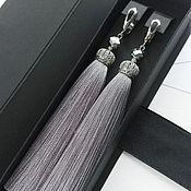 Украшения handmade. Livemaster - original item Silver grey tassel earrings. Earrings tassels long. Handmade.