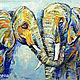 """Животные ручной работы. Ярмарка Мастеров - ручная работа. Купить Картина со слонами """"Я Тебя Люблю"""" картина слон. Handmade."""