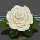 Брошь цветок, Кремовая роза (муранское стекло, подарок женщине)