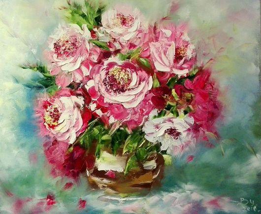 Картины цветов ручной работы. Ярмарка Мастеров - ручная работа. Купить Летнее настроение. Handmade. Картина в подарок, пионы, лак