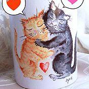 Посуда ручной работы. Ярмарка Мастеров - ручная работа Кружка с принтом  Влюблённые коты. Handmade.