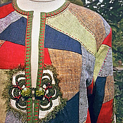 Одежда ручной работы. Ярмарка Мастеров - ручная работа Жакет летний льняной пэчворк РУССКИЕ СЕЗОНЫ. Handmade.