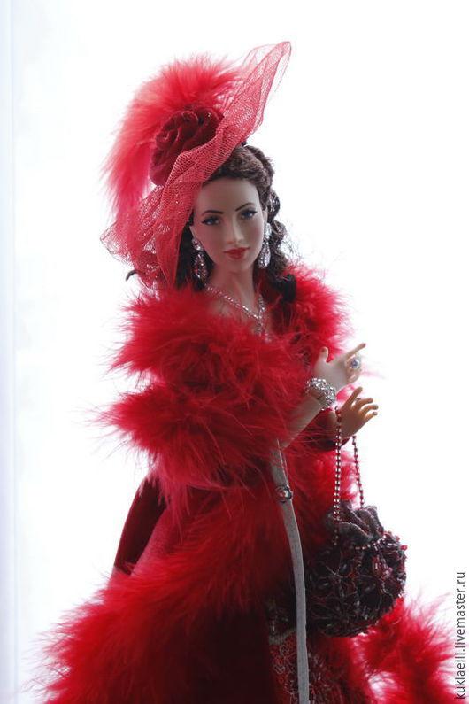 Коллекционные куклы ручной работы. Ярмарка Мастеров - ручная работа. Купить Дама с собачкой. Handmade. Бордовый, йорширский терьер
