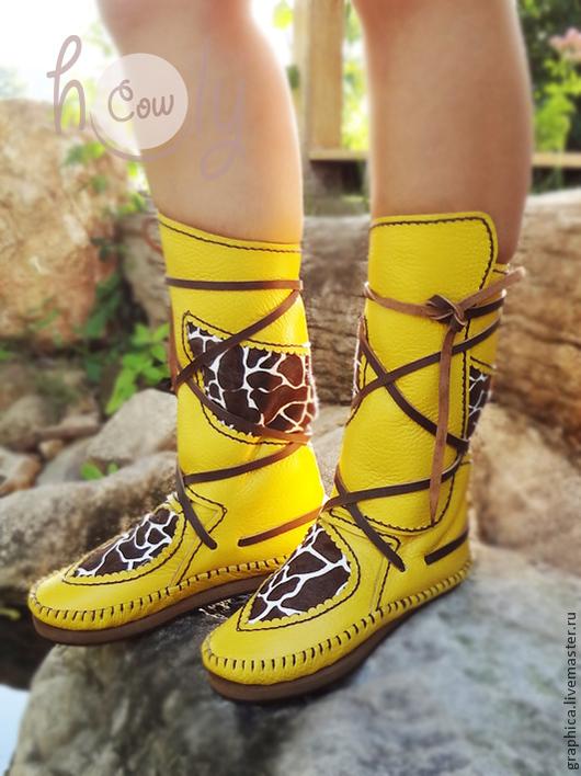 """Обувь ручной работы. Ярмарка Мастеров - ручная работа. Купить Необычные кожаные мокасины """"Crazy Giraffe"""". Handmade. Желтый"""