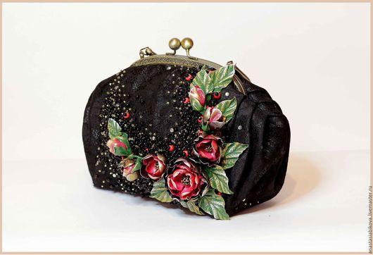Женские сумки ручной работы. Ярмарка Мастеров - ручная работа. Купить вечерняя сумочка с цветочным декором из полимерной глины. Handmade.