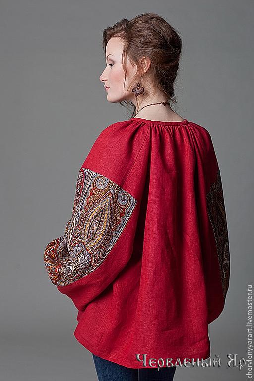 Этническая одежда ручной работы. Ярмарка Мастеров - ручная работа. Купить Рубаха павловопосадская красная льняная с прямыми поликами женская. Handmade.