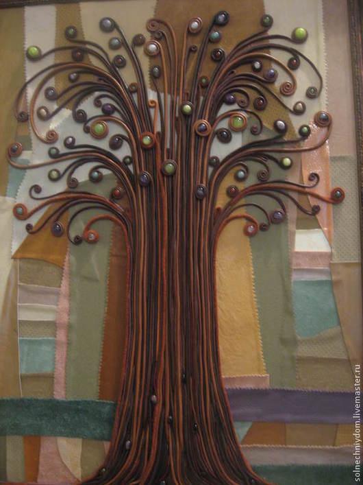 """Символизм ручной работы. Ярмарка Мастеров - ручная работа. Купить Панно из кожи """"Древо жизни"""" с камнями. Картина из кожи. Handmade."""