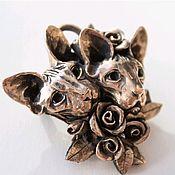 Украшения handmade. Livemaster - original item Brooch-pendant in bronze SPHINXES. Handmade.
