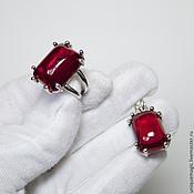 Украшения handmade. Livemaster - original item Kit. Ring, pendant / pendant with red corundum. 925 sterling silver p. Handmade.