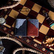 Визитницы ручной работы. Ярмарка Мастеров - ручная работа Кожаный кардхолдер, визитница -LITTLE ROCK- цвет Черный Карбон. Handmade.
