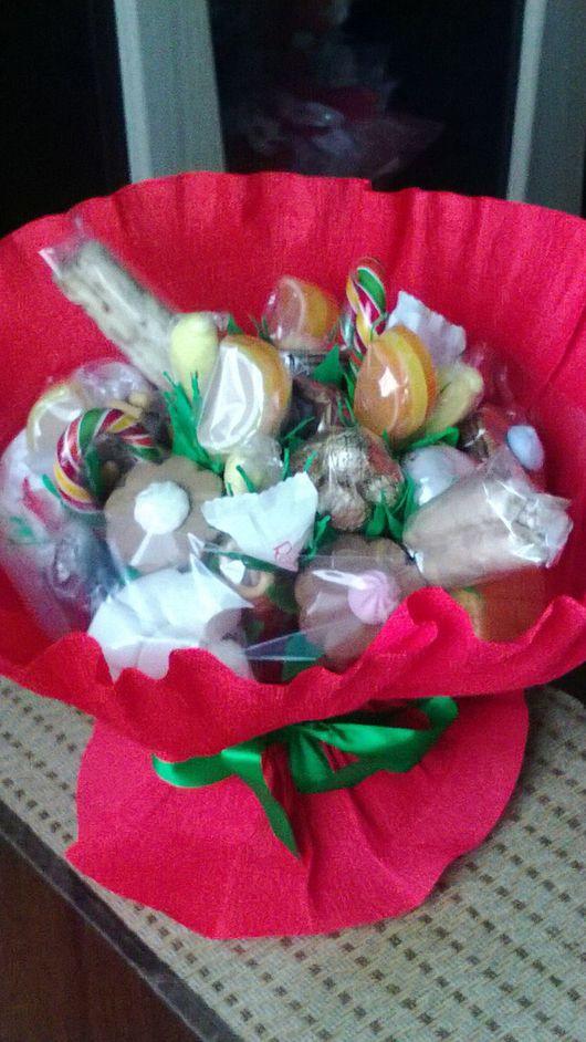 Персональные подарки ручной работы. Ярмарка Мастеров - ручная работа. Купить Букет из сладостей. Handmade. Подарок, женский подарок, печенье