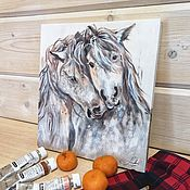Картины и панно handmade. Livemaster - original item Painting with horses, Tenderness for two, painting on a tree. Handmade.