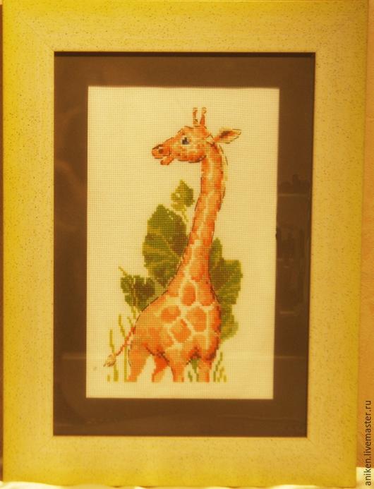 """Животные ручной работы. Ярмарка Мастеров - ручная работа. Купить Вышивка крестом """"Жираф"""". Handmade. Оранжевый, для детской, картина, жираф"""
