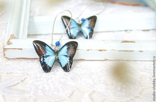 Серьги ручной работы. Ярмарка Мастеров - ручная работа. Купить Серьги длинные фигурные. Синие бабочки.. Handmade. Авторские украшения