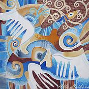 """Аксессуары ручной работы. Ярмарка Мастеров - ручная работа Батик Шелковый платок """"Белая птица"""". Handmade."""