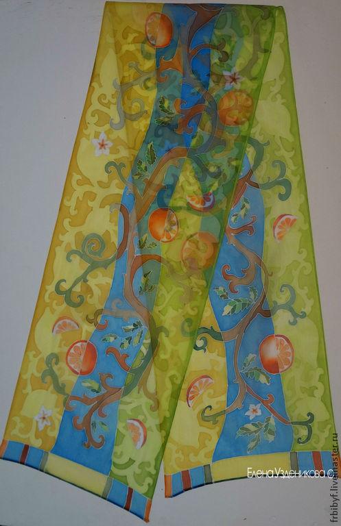 Шелковый шарф `45\180` из коллекции `Ароматы любви` 30\180 см, 100% шелк, холодный батик.