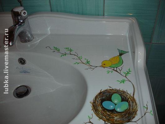 Роспись сантехники в ванной комнате\r\nРоспись раковины\r\nРоспись на заказ в ванной