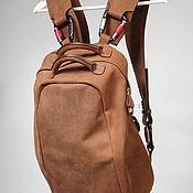 Сумки и аксессуары handmade. Livemaster - original item Men`s backpack: Brown thick leather backpack. Handmade.