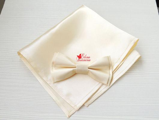 Галстуки, бабочки ручной работы. Ярмарка Мастеров - ручная работа. Купить Комплект бабочка + карманный платок цвета айвори, атлас. Handmade.