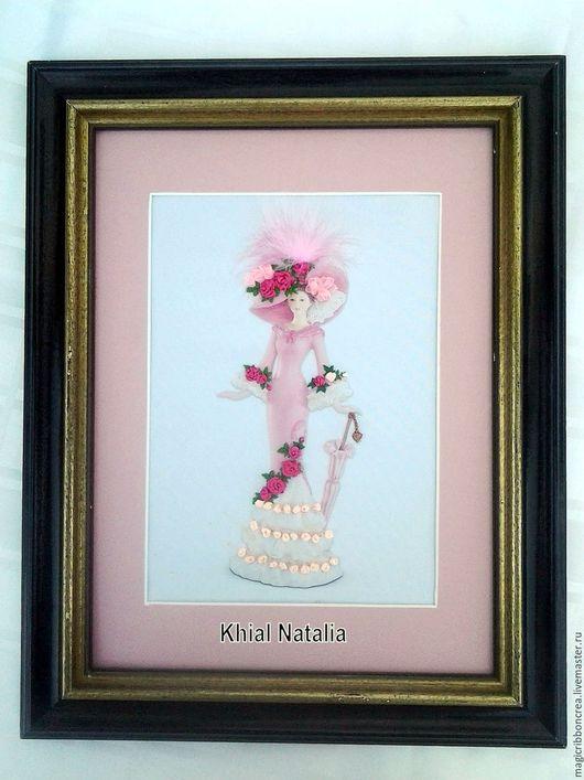"""Люди, ручной работы. Ярмарка Мастеров - ручная работа. Купить Картина вышитая лентами """"Леди в розовом"""". Handmade. Шелк"""