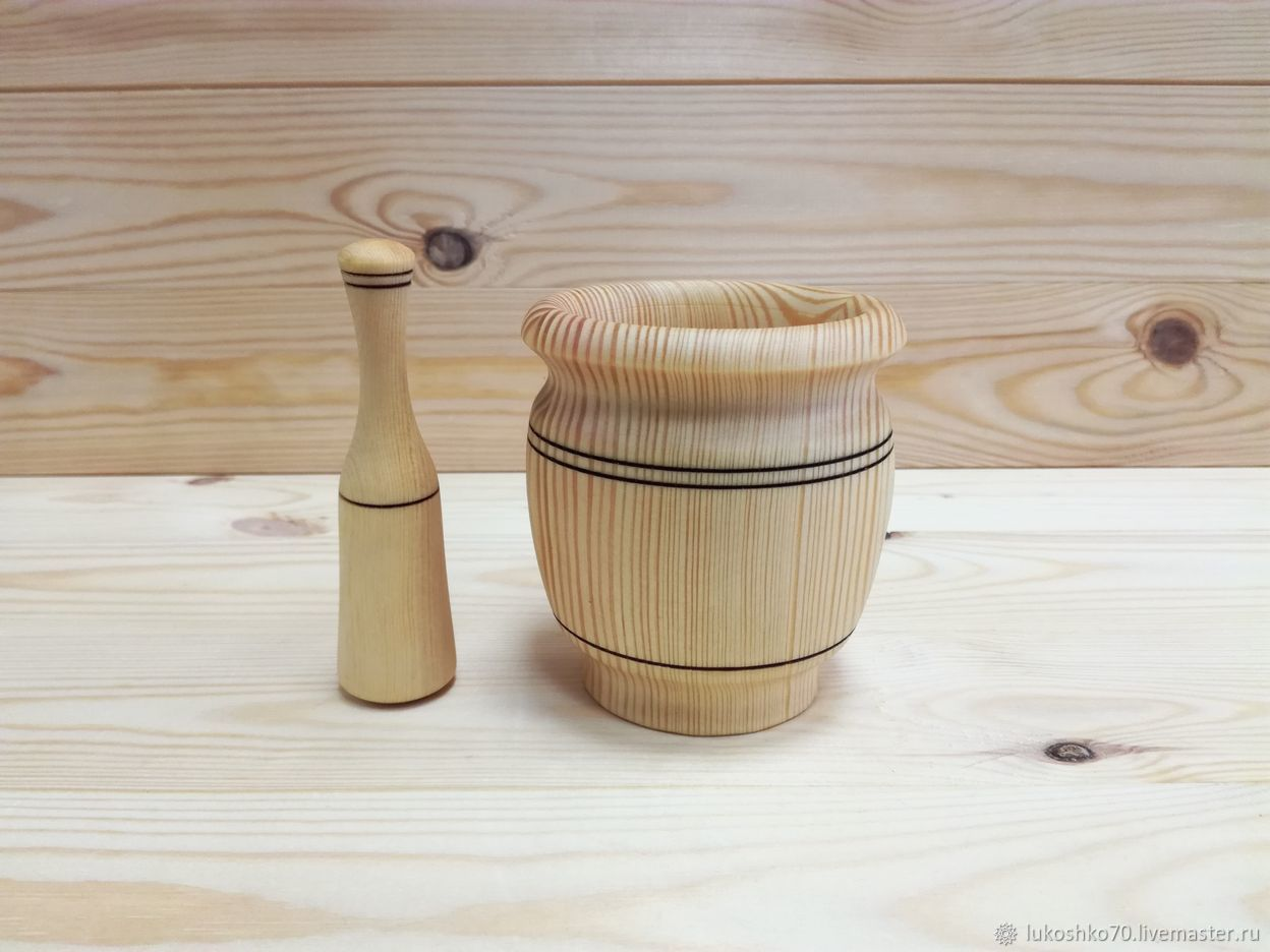 The wooden mortar. Tableware made of cedar, Ware in the Russian style, Tomsk,  Фото №1